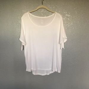 NWOT A New Day White Tshirt Arm Bow Ties sz L